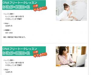 オンライン英会話スクール GNAのコース